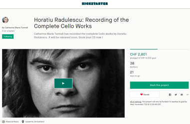 Kickstarter campaign for Horatiu Radulescu CD